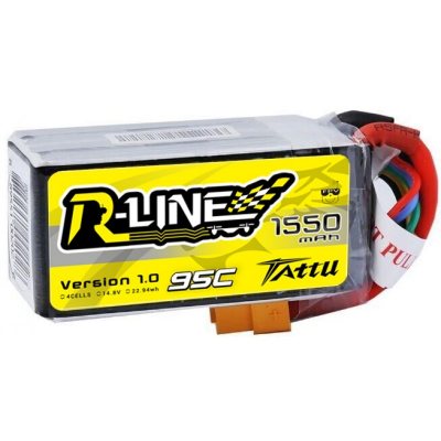 Tattu R-Line 1550mAh 95C 4S1P lipo battery pack