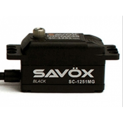 SERVO Low Profil SAVOX SC-1251MG Coreless 9kg.cm/6V - BLACK EDITION TBC
