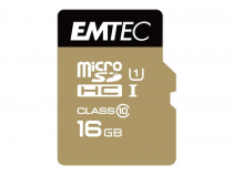 MicroSDHC 16Go EMTEC +Adapter CL10 Gold+ UHS-I 85MB/s - Sous blister